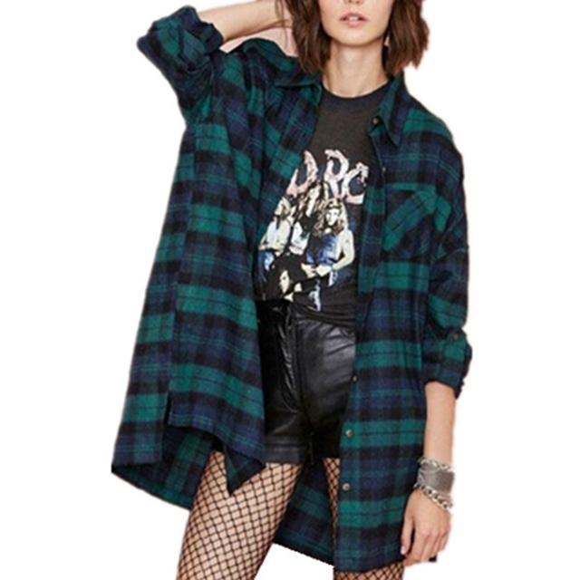 Zanzea outono camisas 2017 moda feminina casual solta blusa xadrez clássico manga longa tops turn-down collar blusas mais tamanho