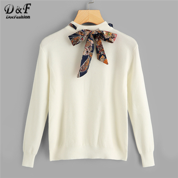 Dotfashion Tie Neck Knotted Beige Sweaters
