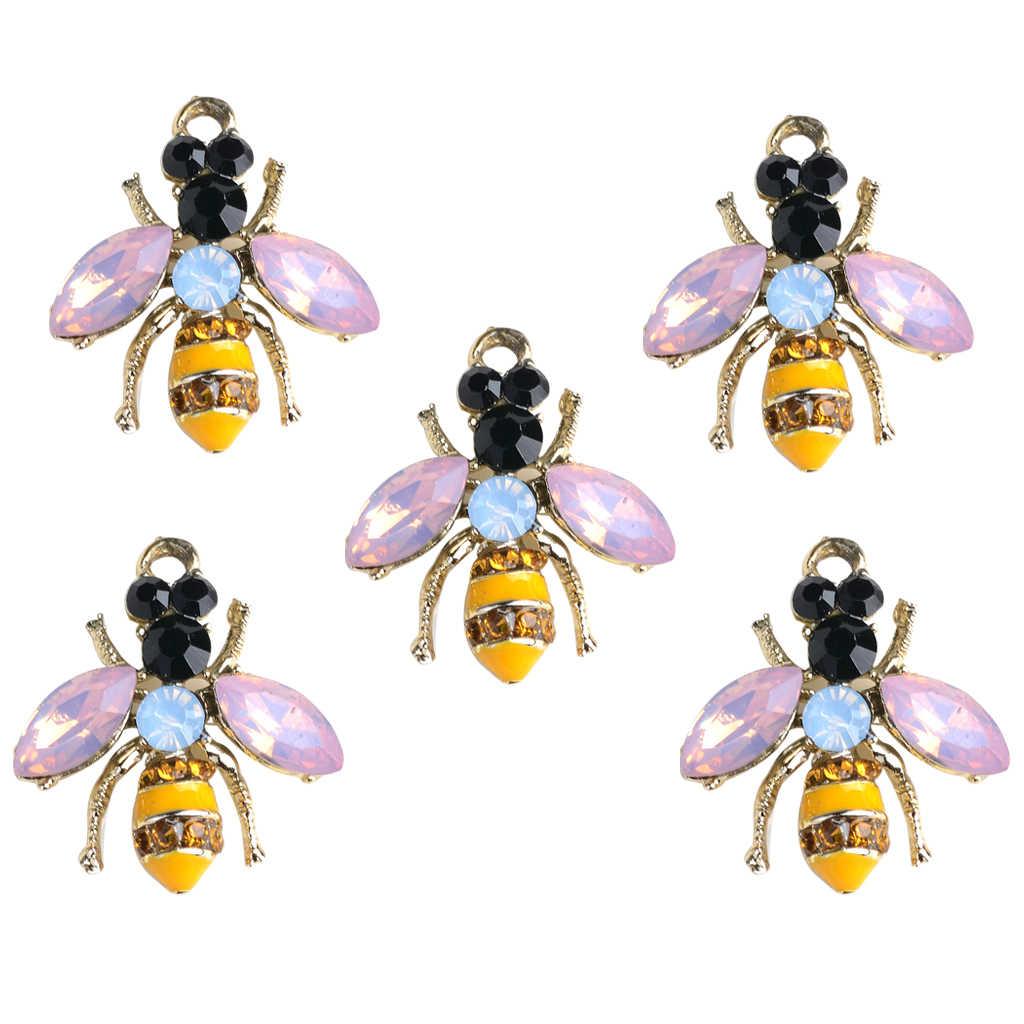 5 個エナメル蜂の魅力ペンダントビーズゴールドラインストーン Diy のジュエリーメイキング検索クリスマス装飾