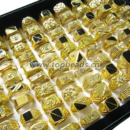 New Copper Gold Plated Styles mixed Finger Ring Men mixed designs