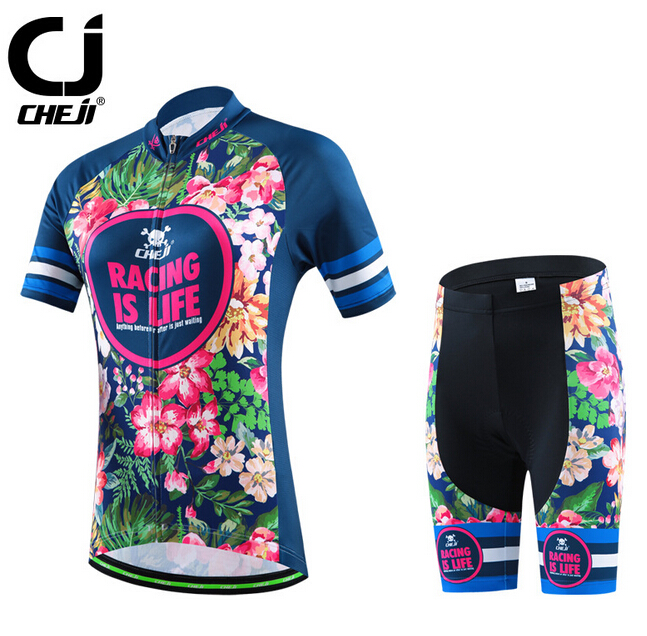 ФОТО 2017 CHEJI Summer Women Cycling Jerseys & Shorts Suit Pink Flower Quick-Dry