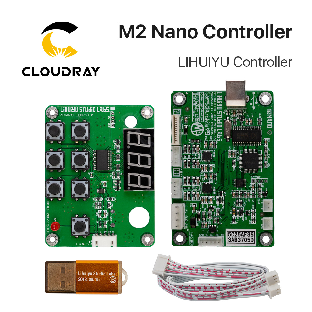 US $10 0 |Cloudray LIHUIYU M2 Nano Laser Controller Mother Main Board +  Control Panel + Dongle B System Engraver Cutter DIY 3020 3040 K40-in CNC