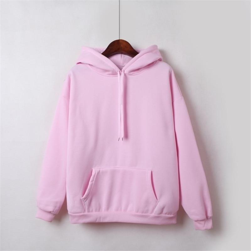 Hooded Tops Women's Sweatshirt Long-Sleeved Winter Velvet Thickening Coat 51
