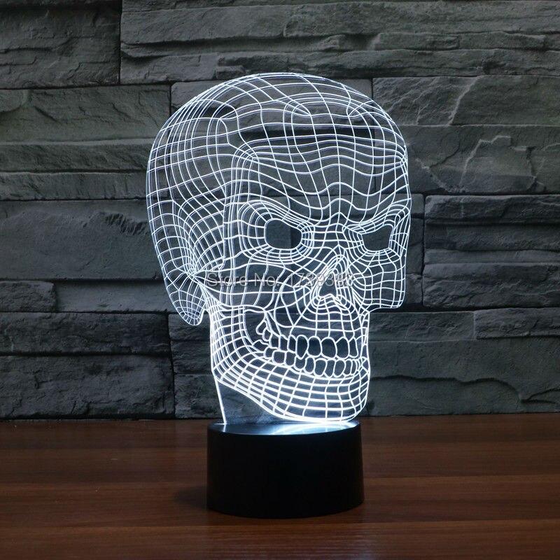 Бесплатная Доставка изменение Цвета сенсорный датчик контроля Arcylic 3D <font><b>LED</b></font> Flash скелеты Ночник USB 3D <font><b>LED</b></font> Красный Череп стол лампы