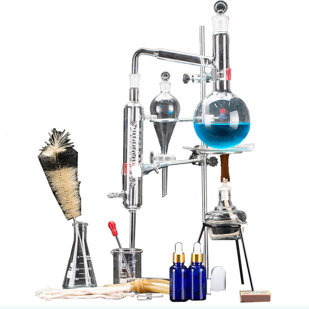 24 piezas nuevo 500 ml laboratorio aceite esencial de aparato de destilación destilador de agua purificador de vidrio Kits w/condensador tubo frasco