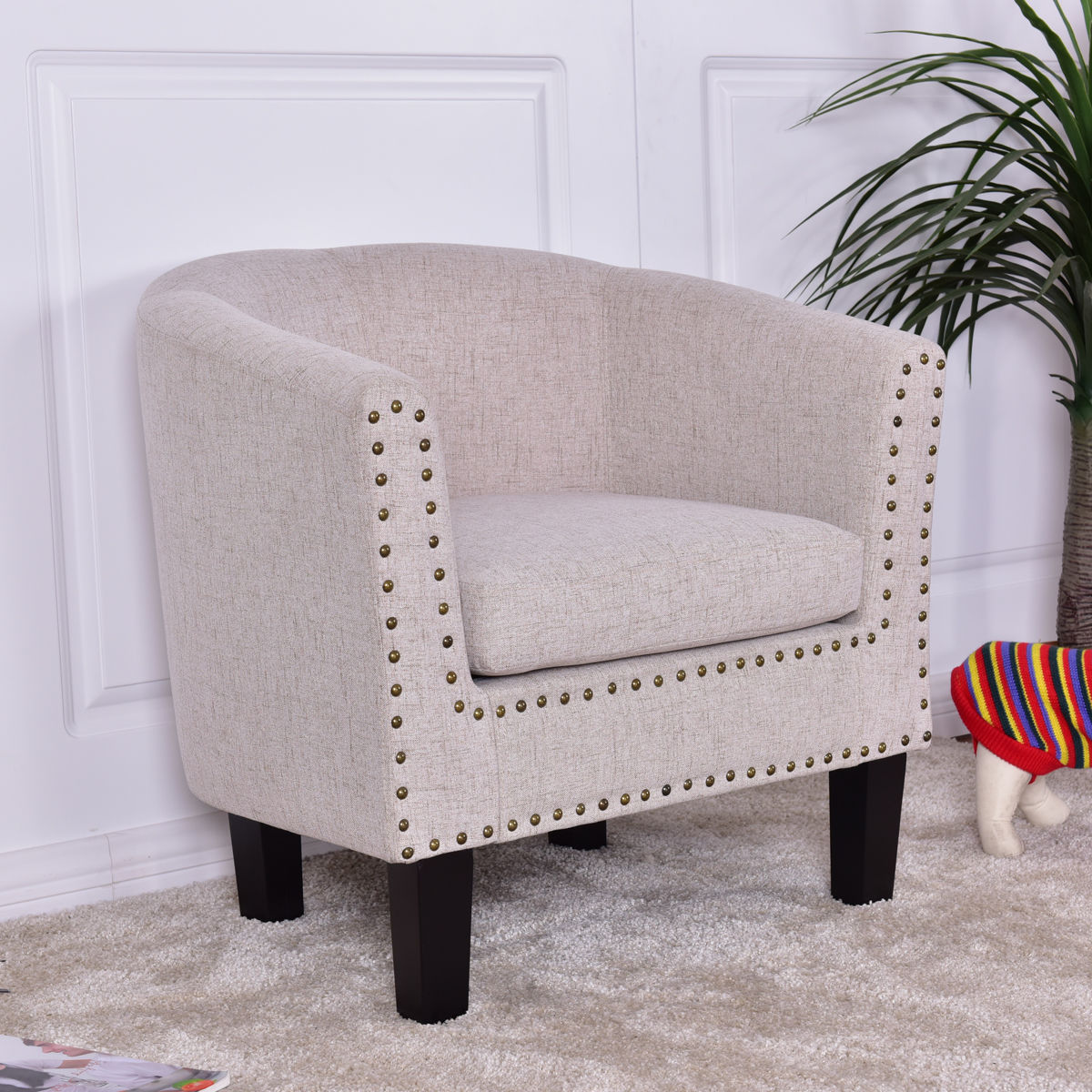 Lovely Giantex Modern Living Room Armchair Accent Fabric Rivets Single Sofa Chair  With Cushion Leisure Wood Home Furniture HW56011BE In Living Room Chairs  From ...