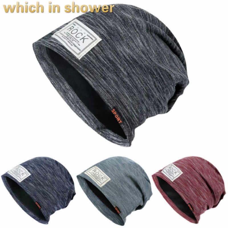 b402e40f68a3c1 Men Turban Hat Cotton Fall Skullies Beanie Outdoor Sports Male Stocking Cap  Casual Winter Hip Hop