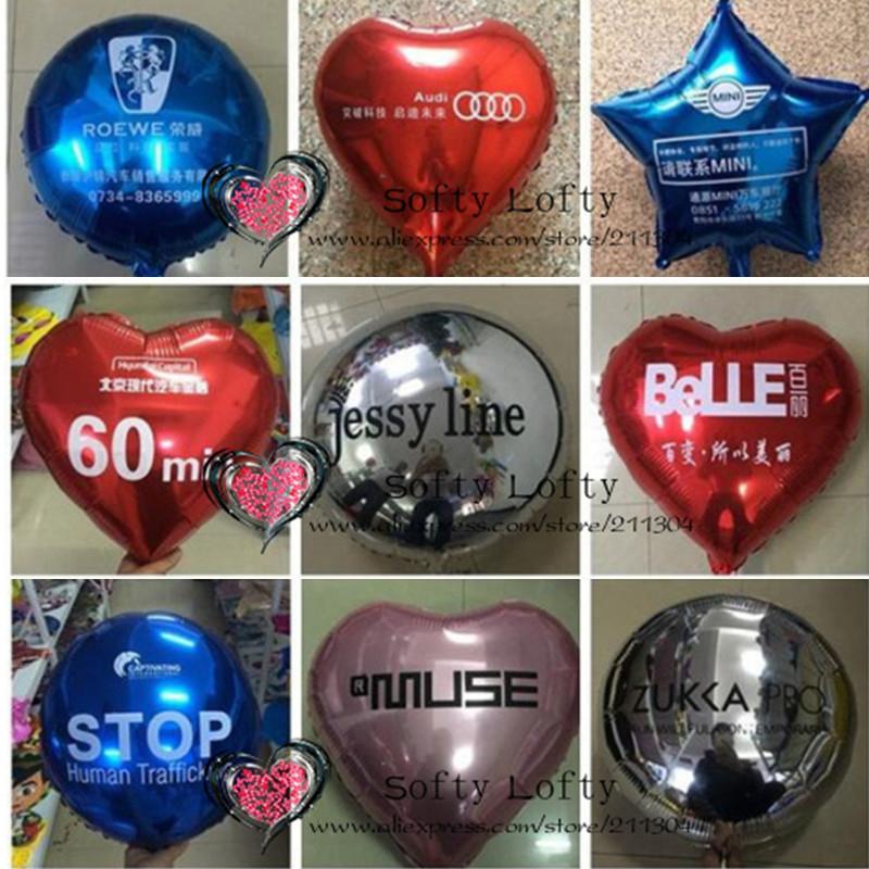 50pcs 18inch Customized printed heart foil balloons,business promotion,birthday wedding party decorations name gift baby shower