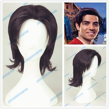 2019 Movie Aladdin mens wig role paly mens Prince Mena Massoud dark brown short hair wig costumes image