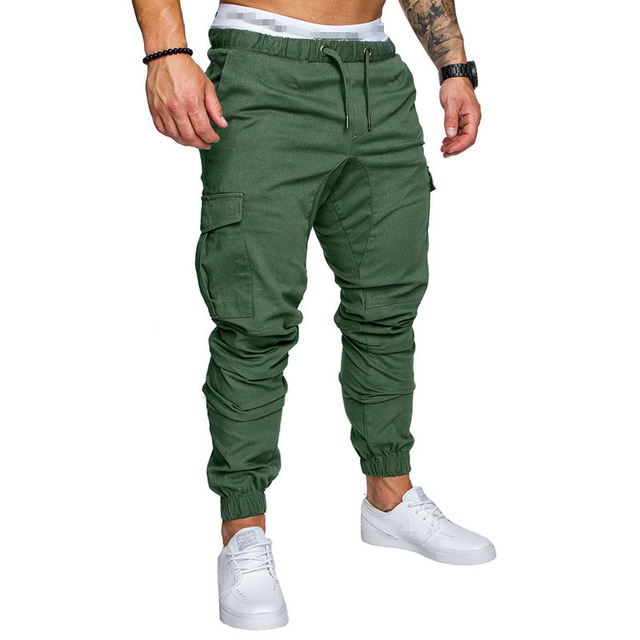 IceLion 2019 New Fashion Pants Men Solid Elasticity Men's Casual Trousers Mens Joggers Drawstring Multi-pocket Pants Sweatpants 4