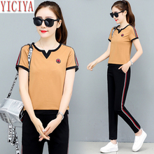 YICIYA Two Piece Set Tracksuits for Women Outfit Sportswear Summer Co-ord Top and Wide Pants Suits Plus Size Black Clothing