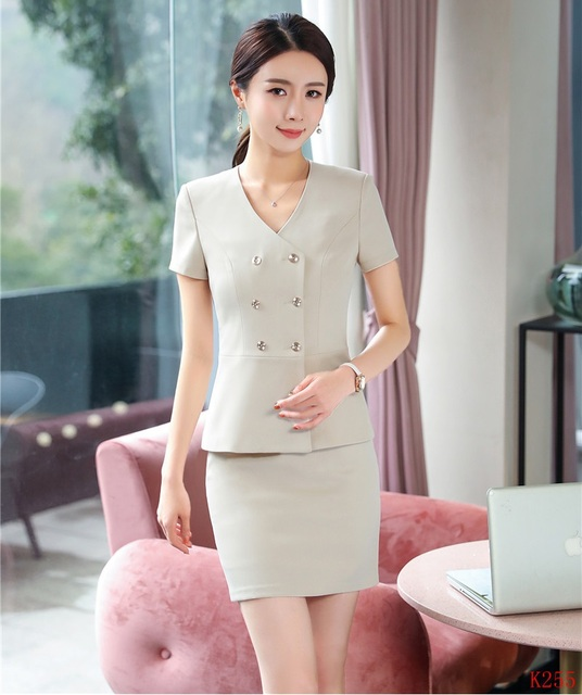 26e1877a492c Summer Ladies Blazer Women Business Suits with Skirt and Jacket Set Work  Wear Office Uniform Styles