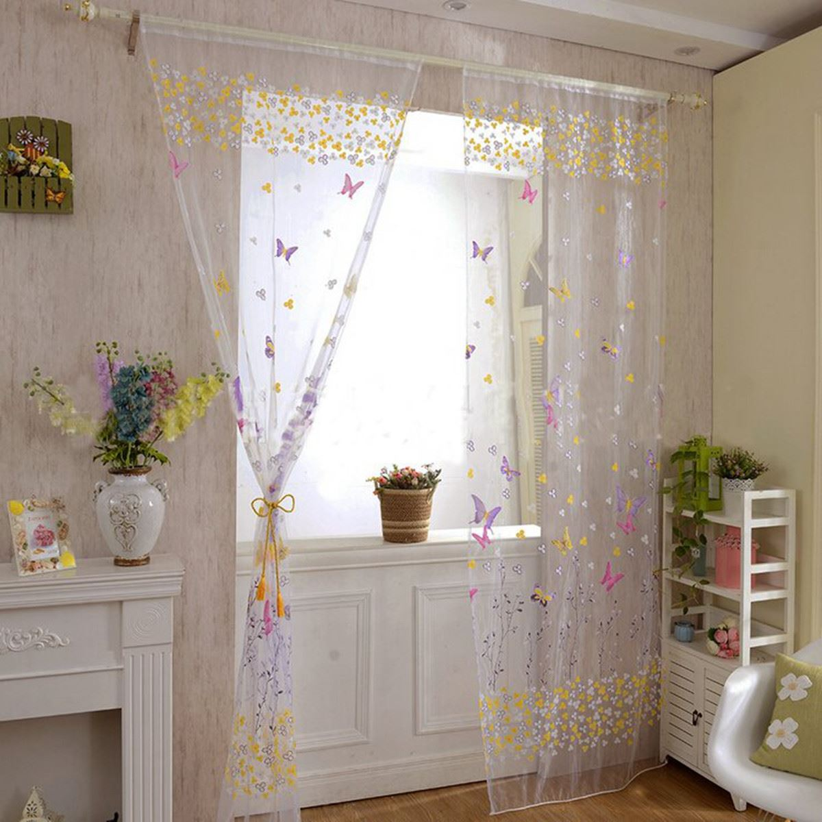 2016 Summer Butterfly Floral Tulle Door Window Curtain Voile Drape Panel Sheer Scarf Valances For Bedroom Living Room Decor