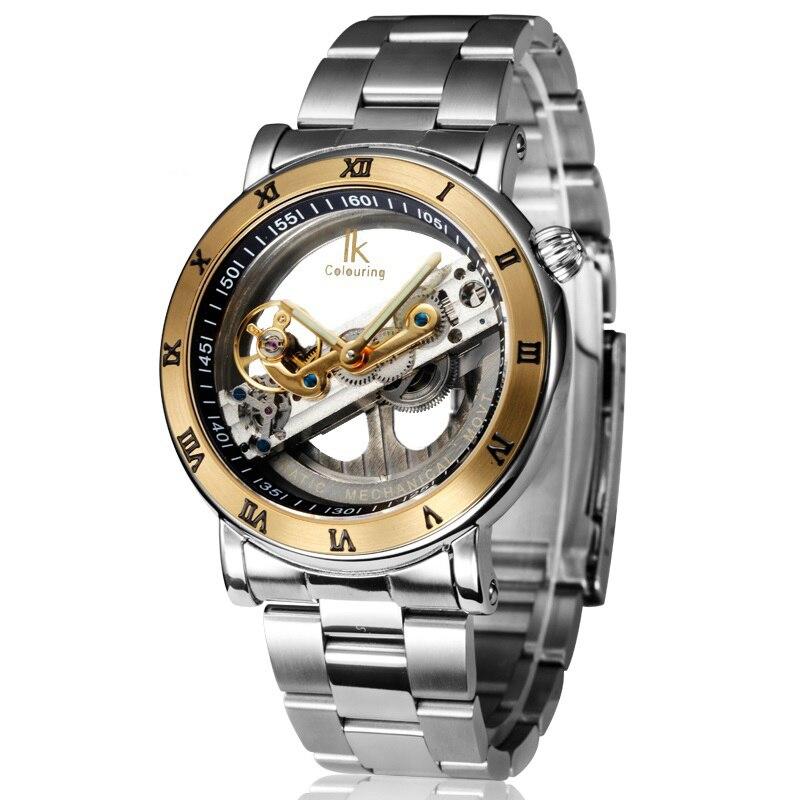 Оригинальные Наручные часы с двойным лицом выдалбливают моды скелет автоматические мужчины механические с автоподзаводом Wind Top Brand 5ATM водо…