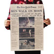 DLKKLB el Apolo 11 luna nueva York veces Vintage cartel de papel Kraft Retro Decoración de habitación de los niños 51X35.5cm etiqueta de la pared
