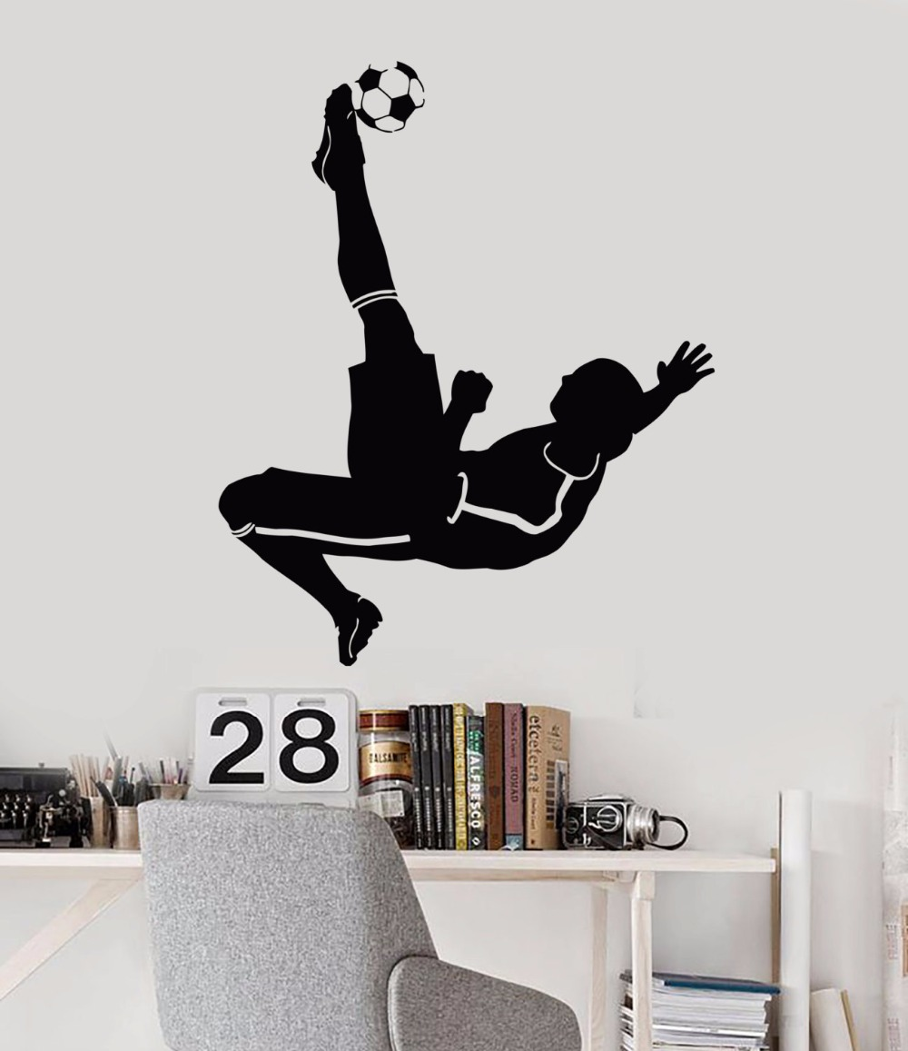 Art  Wall Sticker Soccer Player Decoration Sports Poster Vinyl Removeable Mural Decor Kicking Ball LY145