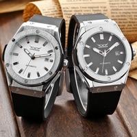 Jaragar homens relógio de pulso caixa de aço inoxidável de borracha preta banda hombre relógio de pulso data auto relógio mecânico relógio masculino