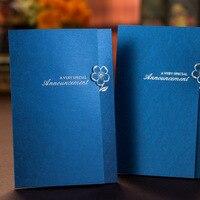 2017 יוקרה חדשה בצבע חום אדום פרחי עיצוב אלגנטי כרטיסי הזמנות לחתונה לחתוך לייזר כחול 25 יחידות מתנת נייר מסיבת יום הולדת כרטיס
