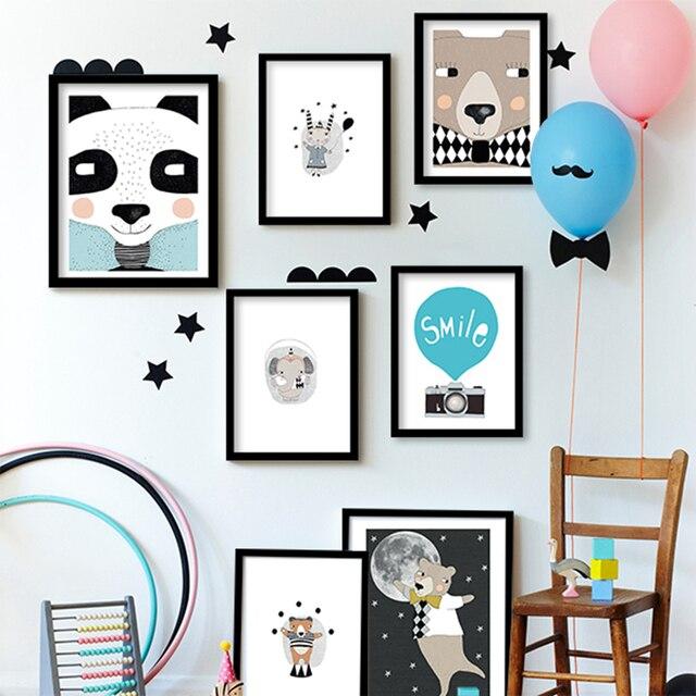 Cartoon Zwierzęta Niedźwiedź Płótnie Reprodukcja, Zwierzęta malarstwo plakat przedszkola Niedźwiedź zdjęcia ścienne dla dzieci pokój dekoracje domowe w stylu nordyckim