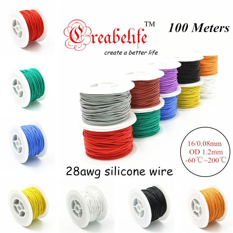 100 Meters 28 AWG Flexible Silicone Wire RC Cable 28AWG 16/0.08TS Outer Diameter 1.2mm With 10 Colors to Select 1meter red 1meter black color silicon wire 10awg 12awg 14awg 16 awg flexible silicone wire for rc lipo battery connect cable