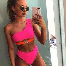 One Shoulder Neon Pink Bikini 2019 Metal Button Up Bathing Suit Women Biquinis High Waist Swimsuit Female Cut Swimwear