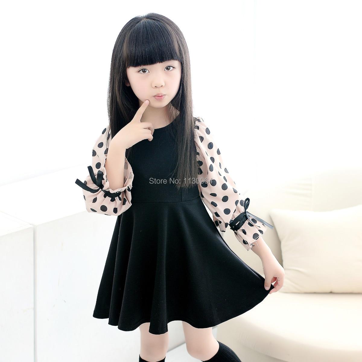 2015 New Summer Fashion Black Chiffon Polka Dot Long Sleeved Girl Dress 100 Cotton Children