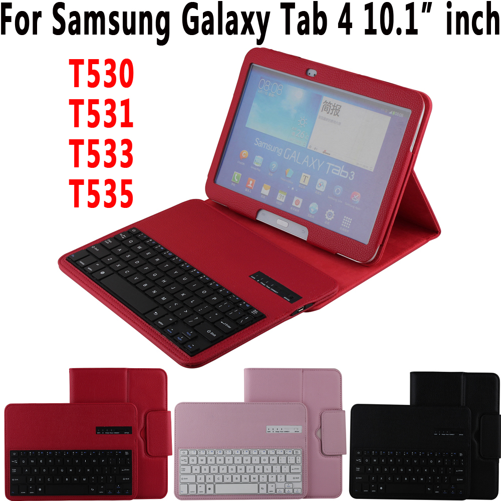 Litchi Pattern Leather Removeable Wireless Bluetooth Keyboard Case Cover for Samsung Galaxy Tab 4 10.1 inch T530 T531 T533 T535