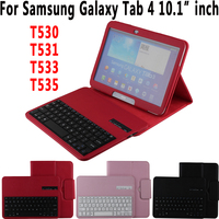 Litchi Pattern Leather Removeable Wireless Bluetooth Keyboard Case Cover for Samsung Galaxy Tab 4 10.1 T530 T531 T533 T535