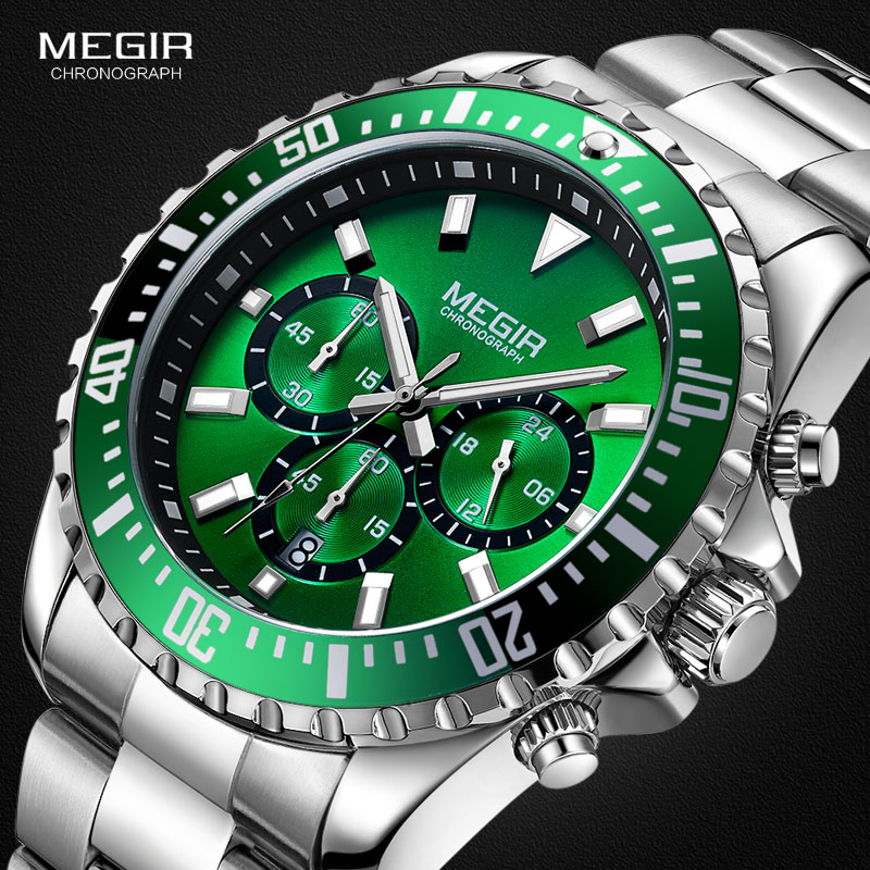 MEGIR Men's Chronograph Quartz Watches Stainless Steel Waterproof Lumious Analogue 24-hour Wristwatch For Man Green Dial 2064G-9