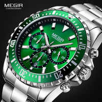 MEGIR Men's Chronograph Quartz Watches Stainless Steel Waterproof Lumious Analogue 24-hour Wristwatch for Man Green Dial 2064G-9