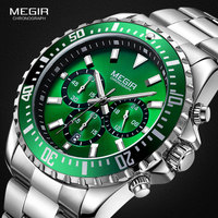 MEGIR Men's Chronograph Quartz Watches Stainless Steel Waterproof Lumious Analogue 24 hour Wristwatch for Man Green Dial 2064G 9
