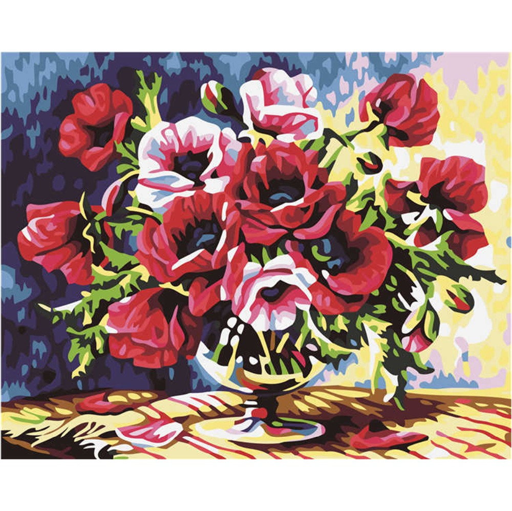 Frameless Canvas Art Oil Painting Flower Painting Design: Frameless Red Flower DIY Oil Painting Painting By Numbers