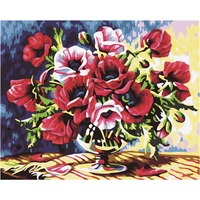 Frameless Red Flower DIY Oil Painting Painting By Numbers Acrylic Paint Art Flowers Modern Home Decor For Living Room