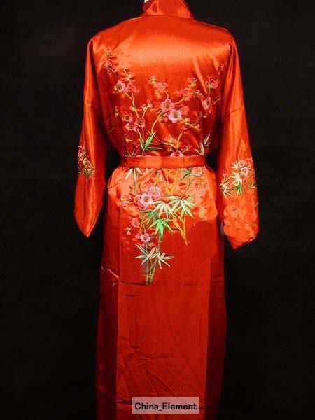 Free Shipping Red Chinese Womens Silk Satin Robe Embroidery Kimono Bath Gown Flower S M L XL XXL XXXL MR-020