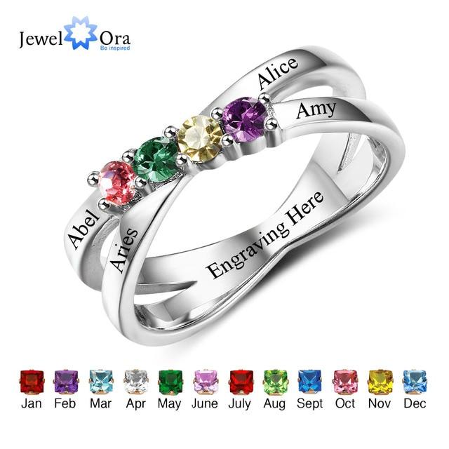 ครอบครัวมิตรภาพแหวนแกะสลักชื่อที่กำหนดเอง 4 Birthstone 925 เงินสเตอร์ลิงแม่แหวนสำหรับแม่ (JewelOra RI102509)