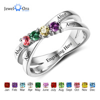 Family Friendship Ring Engrave Names Custom 4 Birthstone 925 Sterling Silver Mothers Rings JewelOra RI102509