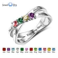 Rodzina i przyjaźń pierścień wygrawerować nazwy klienta 4 Birthstone 925 Sterling Silver matki pierścienie prezent dla mamy (JewelOra RI102509)
