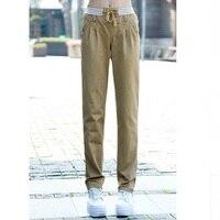 Khaki Pants Women Elastic Waist Casual Pants 2017 New Fashion Cargo Trousers Ladies Army Green Pants Free Shipping