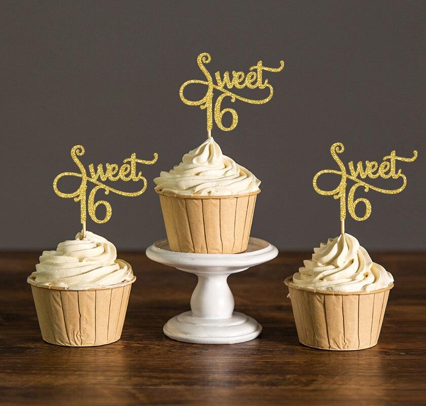 Or/Argent/Noir Glitter Doux 16 D'anniversaire Gâteau Toppers, Fille de Fête D'anniversaire Décorations Faveurs Décorations De Gâteau choix