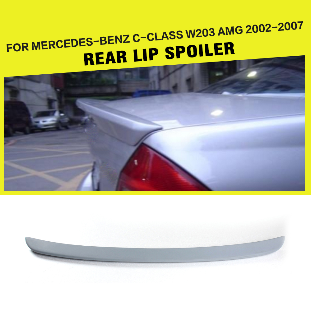 Rear Boot Lip <font><b>Spoiler</b></font> Trunk Sticker Wing For Benz C-Class <font><b>W203</b></font> AMG Sedan 2002-2007 PU Unpainted Primer Grey image