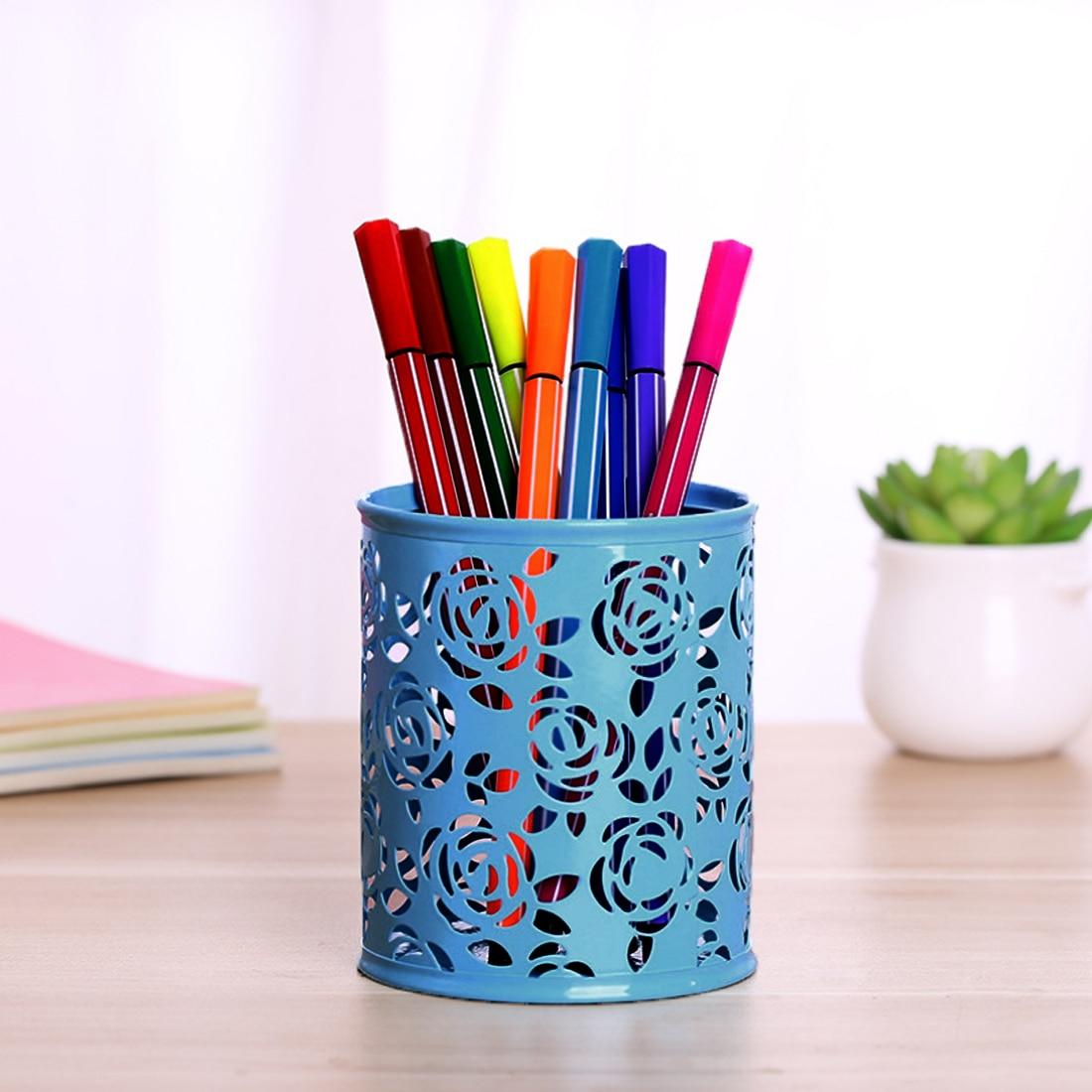 FangNymph Cute Cosmetics Organizer Box Hollow Rose Flower Storage Box Metal Pen Pencil Cup Card Holder Desk Home Organizer