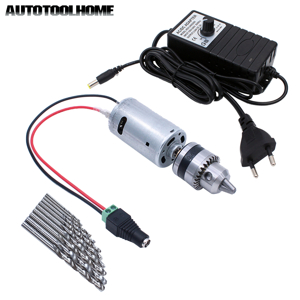 цена на 24V Mini Electric Hand Drill DC Motor B10 0.6-6mm Chuck with Twist Drill Bits Set fit Wood PCB PVB Plastic Hole Saw Power Tools