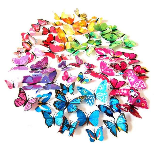 New 12 Pice 3D PVC bướm glossy Hình Động Vật Côn Trùng Mô Hình Tường Sticker