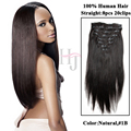 Alta 8A #1B derecho Clip en peruana virginal del pelo humano afroamericano Clip en extensiones del pelo humano de negro Women C217