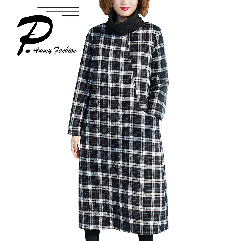 Women Winter Clothing New Thick Warm High Collar Plaid Large Size Literary Cotton Clothes 2018 New Long Sleeve Straight Dresses