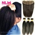 "8A Grade 13"" x 4"" Brazilian Virgin Hair Lace frontal With Hair Bundles 3 pcs Italian kinky yaki Brazilian virgin hair Weaves"