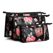 3pcs/set Painting Canvas Cosmetic Bags Zip Case Multi-Color Makeup Bag Floral Colorful Painted Geometric Multifunction Free P460