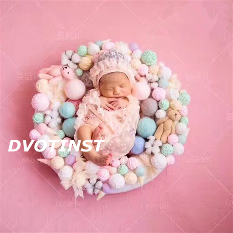 Dvotinst Newborn Baby Photography Props Round Balls Shower Gift Fotografia Accessories Infant Toddler Studio Shooting Photo newborn baby photography props infant knit crochet costume peacock photo prop costume headband hat clothes set baby shower gift