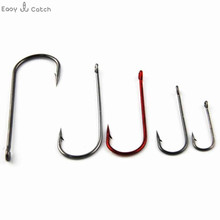 100pcs 9146 High Carbon Steel Fishing Hooks Red Black Tea Aberdeen Bait Fishhooks Carp Fishing Accessories Size 1/0 3/0 1# 4# 8#