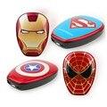 Super cool superman ironman capitão américa the avengers 6000 mah banco de potência carregador portátil para o iphone telefones android